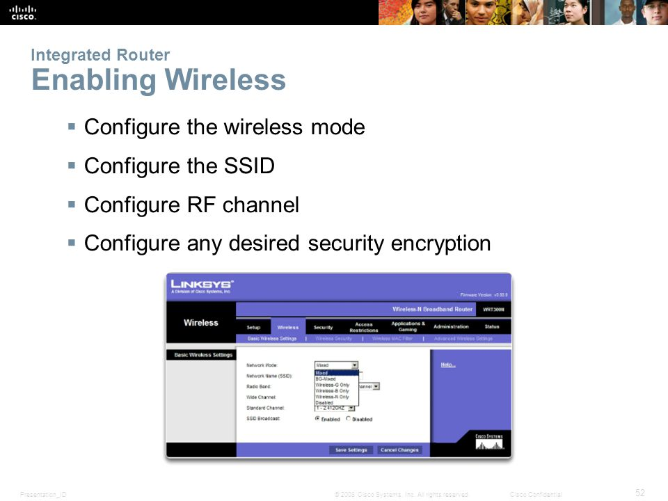 Presentation_ID 52 © 2008 Cisco Systems, Inc. All rights reserved.Cisco Confidential Integrated Router Enabling Wireless Configure the wireless mode C