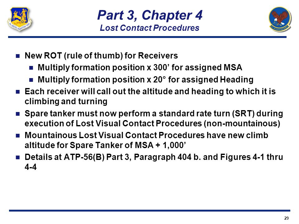 29 New ROT (rule of thumb) for Receivers Multiply formation position x 300 for assigned MSA Multiply formation position x 20° for assigned Heading Eac
