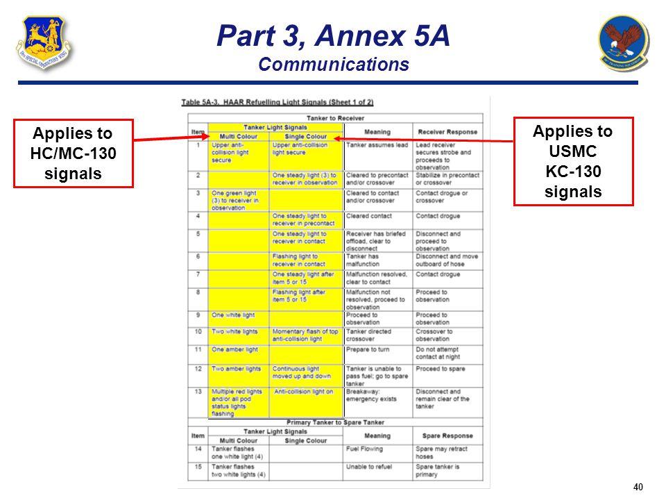 40 Part 3, Annex 5A Communications Applies to USMC KC-130 signals Applies to HC/MC-130 signals
