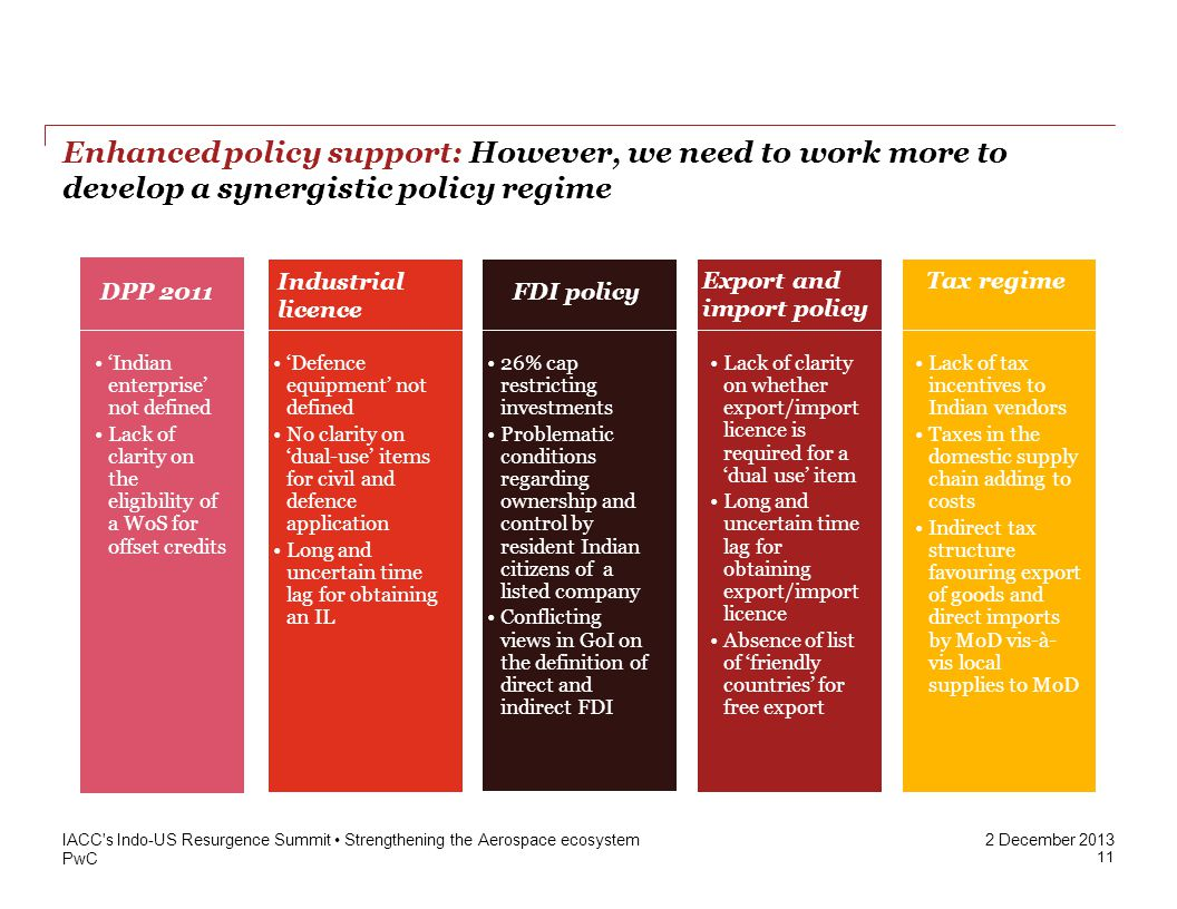PwC 2 December 2013 Enhanced policy support: However, we need to work more to develop a synergistic policy regime IACC s Indo-US Resurgence Summit Strengthening the Aerospace ecosystem Indian enterprise not defined Lack of clarity on the eligibility of a WoS for offset credits Defence equipment not defined No clarity on dual-use items for civil and defence application Long and uncertain time lag for obtaining an IL 26% cap restricting investments Problematic conditions regarding ownership and control by resident Indian citizens of a listed company Conflicting views in GoI on the definition of direct and indirect FDI Lack of tax incentives to Indian vendors Taxes in the domestic supply chain adding to costs Indirect tax structure favouring export of goods and direct imports by MoD vis-à- vis local supplies to MoD DPP 2011 Industrial licence Lack of clarity on whether export/import licence is required for a dual use item Long and uncertain time lag for obtaining export/import licence Absence of list of friendly countries for free export FDI policy Export and import policy Tax regime 11
