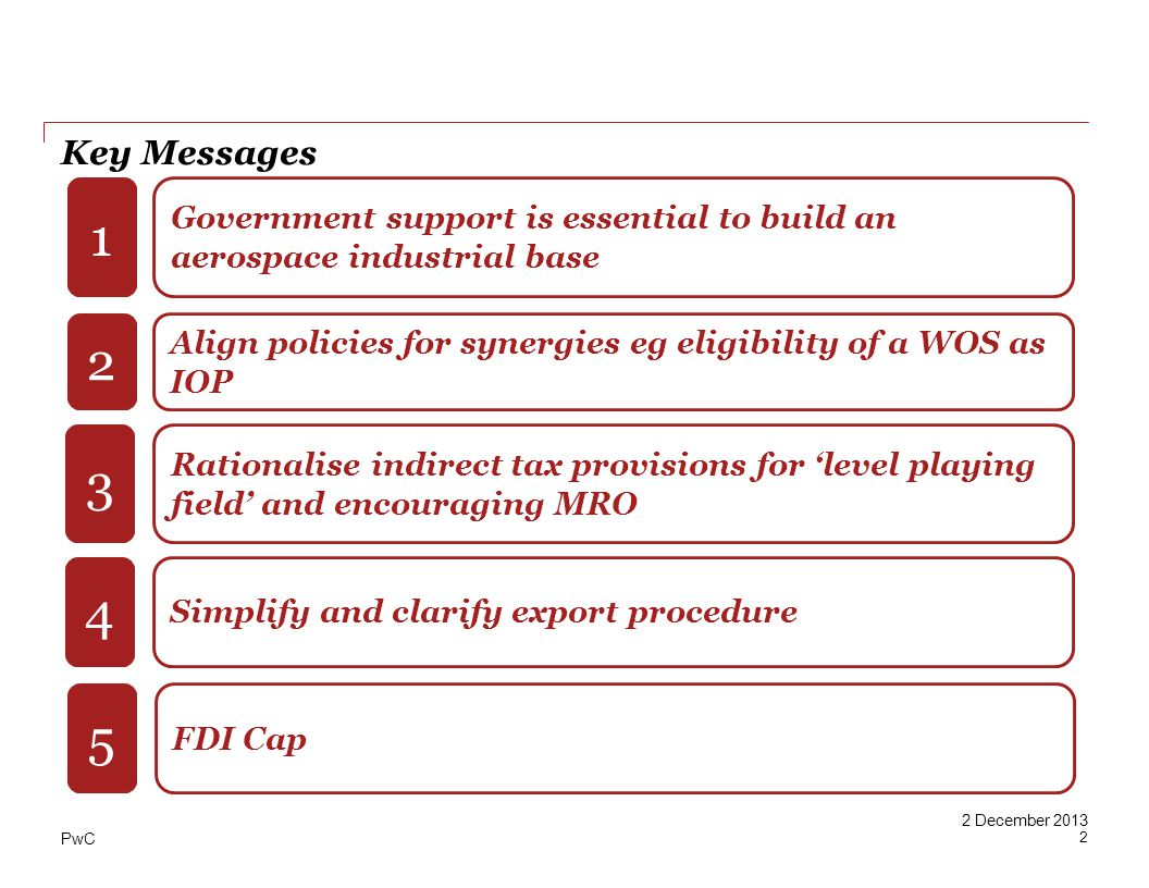 PwC 2 December 2013 Key Messages Government support is essential to build an aerospace industrial base Align policies for synergies eg eligibility of a WOS as IOP Rationalise indirect tax provisions for level playing field and encouraging MRO 1 2 3 Simplify and clarify export procedure 4 FDI Cap 5 2