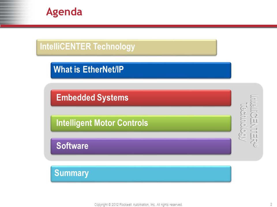 Agenda Embedded SystemsIntelligent Motor ControlsSoftware IntelliCENTER Technology What is EtherNet/IP Summary 2 Copyright © 2012 Rockwell Automation,