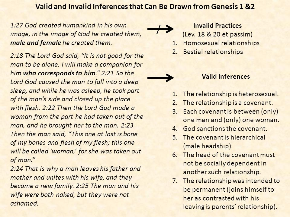 Valid and Invalid Inferences that Can Be Drawn from Genesis 1 &2 1:27 God created humankind in his own image, in the image of God he created them, mal