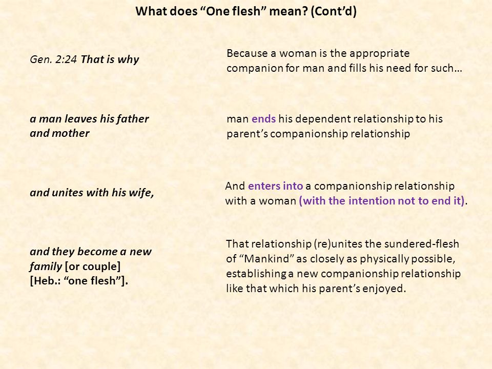Gen. 2:24 That is why a man leaves his father and mother and unites with his wife, and they become a new family [or couple] [Heb.: one flesh]. man end