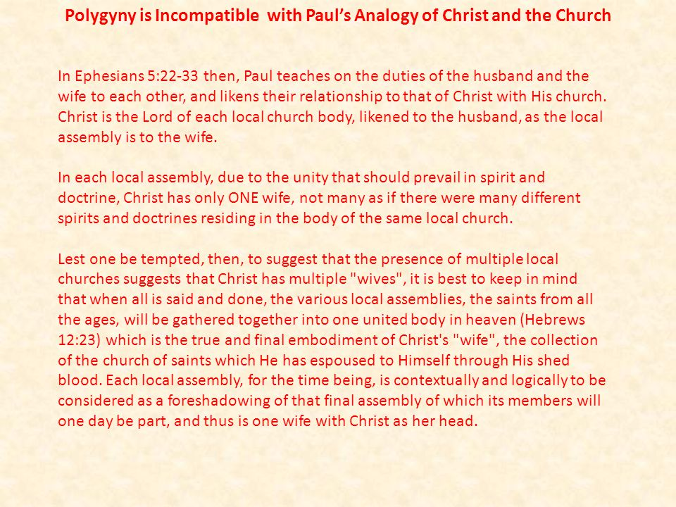 In Ephesians 5:22-33 then, Paul teaches on the duties of the husband and the wife to each other, and likens their relationship to that of Christ with