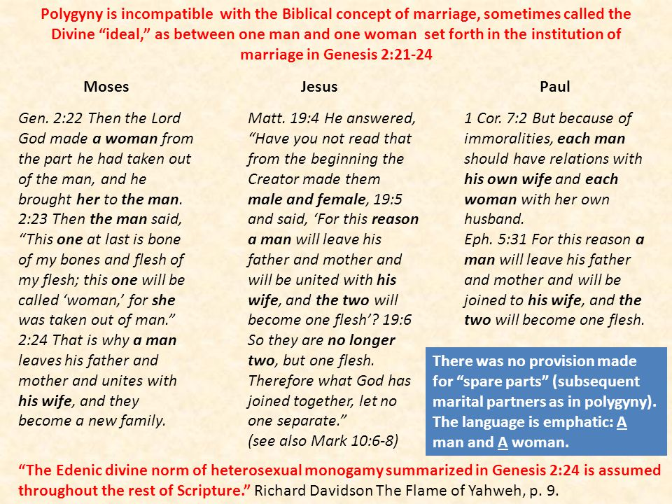 Polygyny is incompatible with the Biblical concept of marriage, sometimes called the Divine ideal, as between one man and one woman set forth in the i