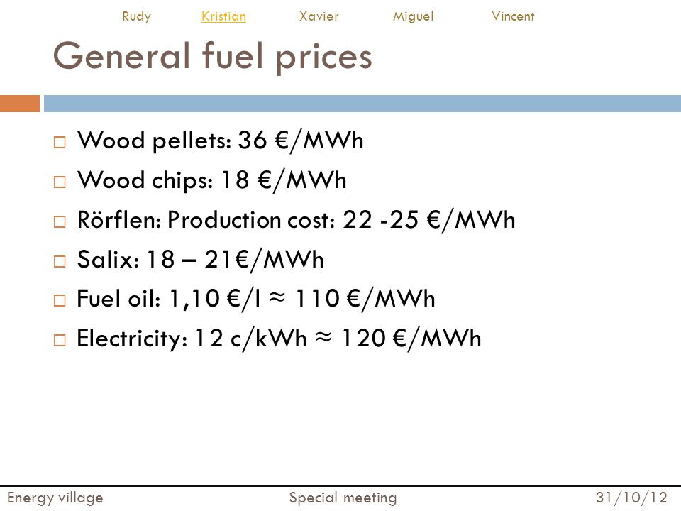 General fuel prices Wood pellets: 36 /MWh Wood chips: 18 /MWh Rörflen: Production cost: 22 -25 /MWh Salix: 18 – 21/MWh Fuel oil: 1,10 /l 110 /MWh Electricity: 12 c/kWh 120 /MWh Energy village Special meeting 31/10/12 Rudy Kristian Xavier Miguel VincentKristian