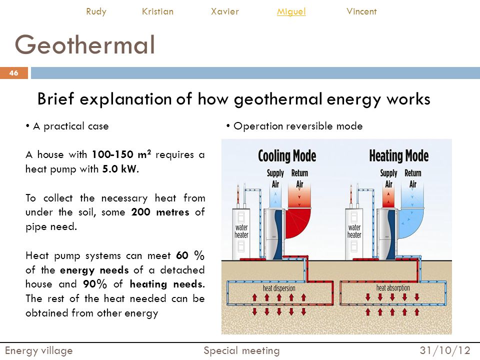 Geothermal 46 Energy village Special meeting 31/10/12 Rudy Kristian Xavier Miguel VincentMiguel Brief explanation of how geothermal energy works Operation reversible mode A practical case A house with 100-150 m 2 requires a heat pump with 5.0 kW.