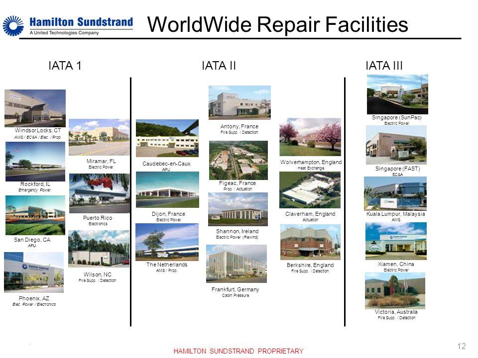 . WorldWide Repair Facilities Windsor Locks, CT AMS / EC&A / Elec. / Prop. Rockford, IL Emergency Power. San Diego, CA APU. Phoenix, AZ Elec. Power /