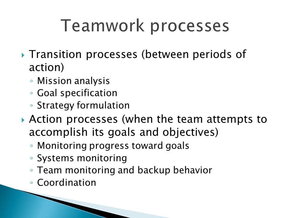Transition processes (between periods of action) Mission analysis Goal specification Strategy formulation Action processes (when the team attempts to