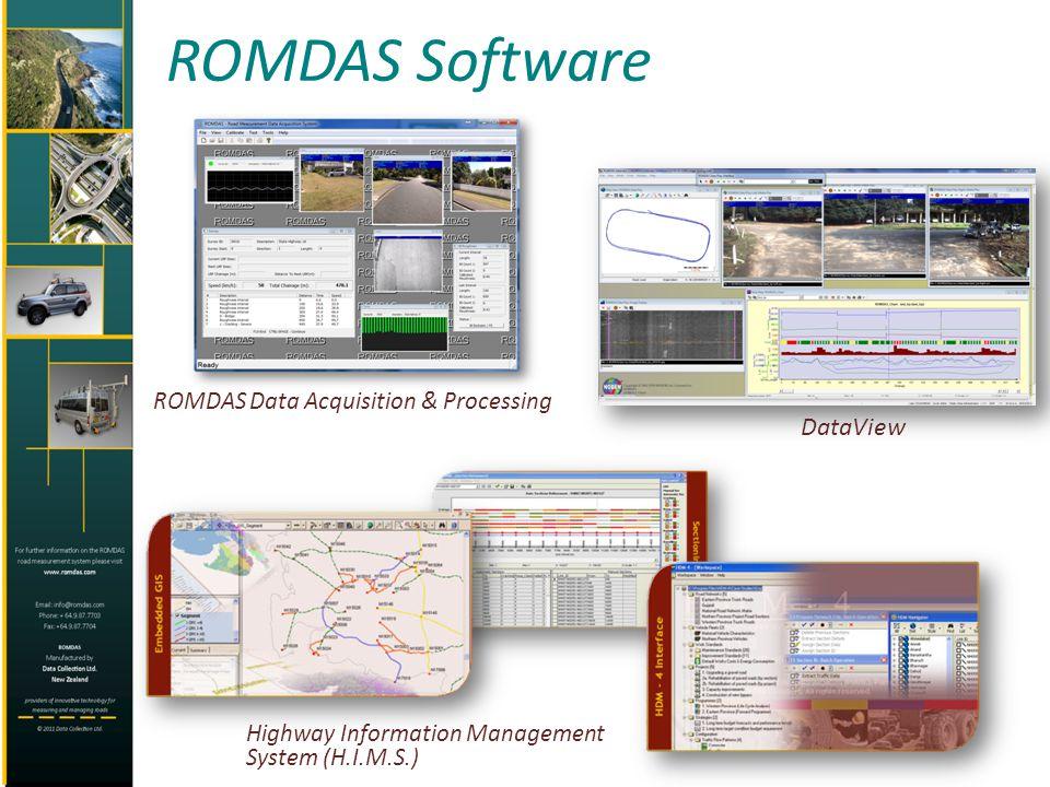 ROMDAS Software ROMDAS Data Acquisition & Processing DataView Highway Information Management System (H.I.M.S.)