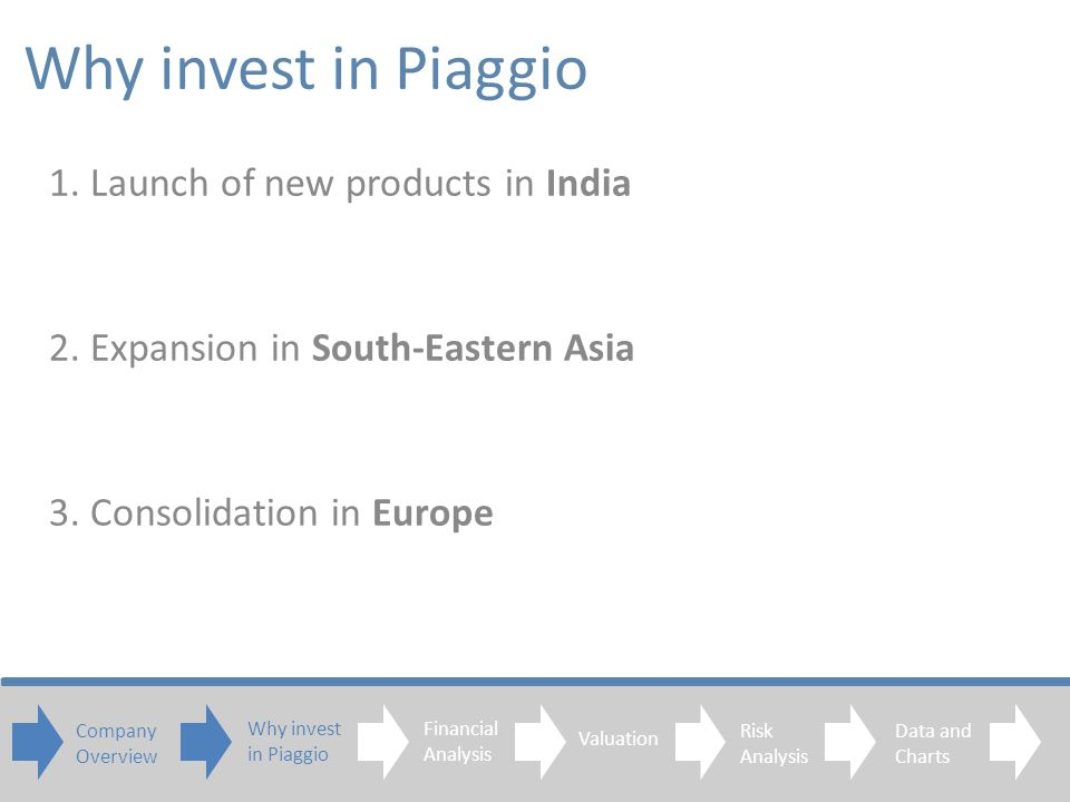 1. Launch of new products in India 2. Expansion in South-Eastern Asia 3.