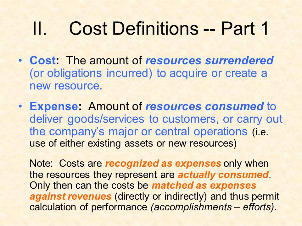 II.Cost Definitions -- Part 1 Cost: The amount of resources surrendered (or obligations incurred) to acquire or create a new resource. Expense: Amount