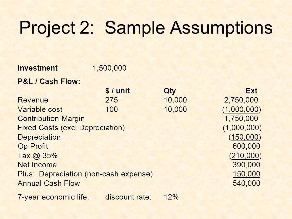 Project 2: Sample Assumptions Investment 1,500,000 P&L / Cash Flow: $ / unit Qty Ext Revenue 275 10,000 2,750,000 Variable cost 100 10,000 (1,000,000)