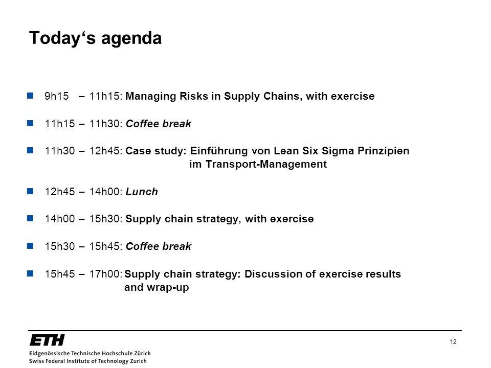 12 Todays agenda 9h15–11h15: Managing Risks in Supply Chains, with exercise 11h15–11h30: Coffee break 11h30–12h45: Case study: Einführung von Lean Six