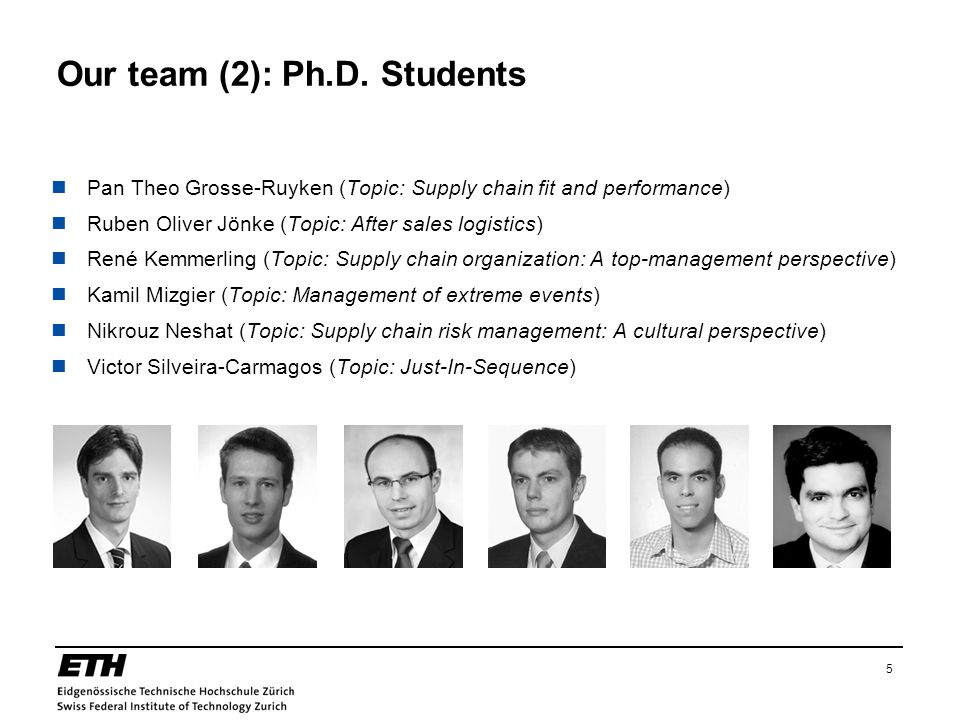 5 Our team (2): Ph.D. Students Pan Theo Grosse-Ruyken (Topic: Supply chain fit and performance) Ruben Oliver Jönke (Topic: After sales logistics) René