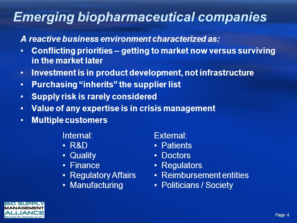 Emerging biopharmaceutical companies Page 4 A reactive business environment characterized as: Conflicting priorities – getting to market now versus su