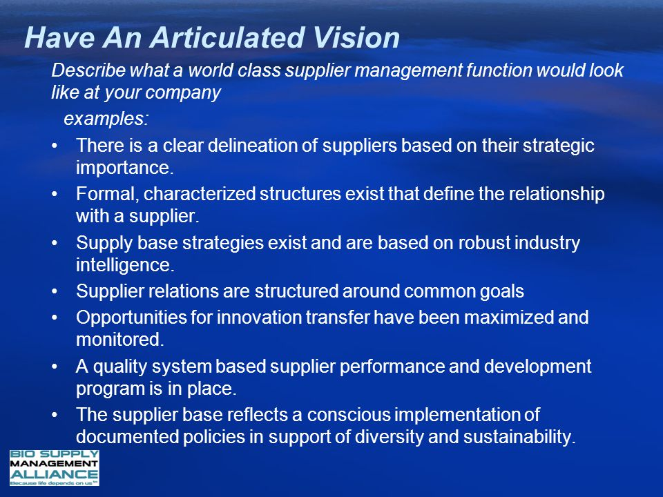 Have An Articulated Vision Describe what a world class supplier management function would look like at your company examples: There is a clear delinea