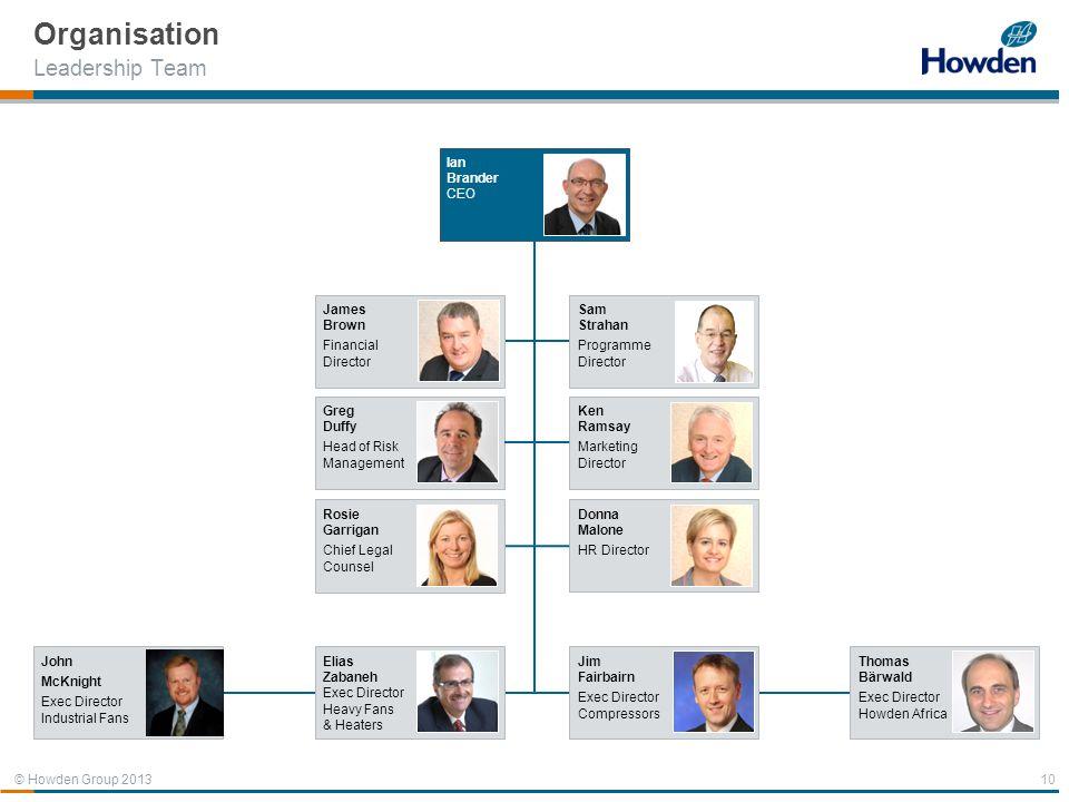 © Howden Group 2013 Organisation Leadership Team 10 Sam Strahan Programme Director Ian Brander CEO James Brown Financial Director Donna Malone HR Dire