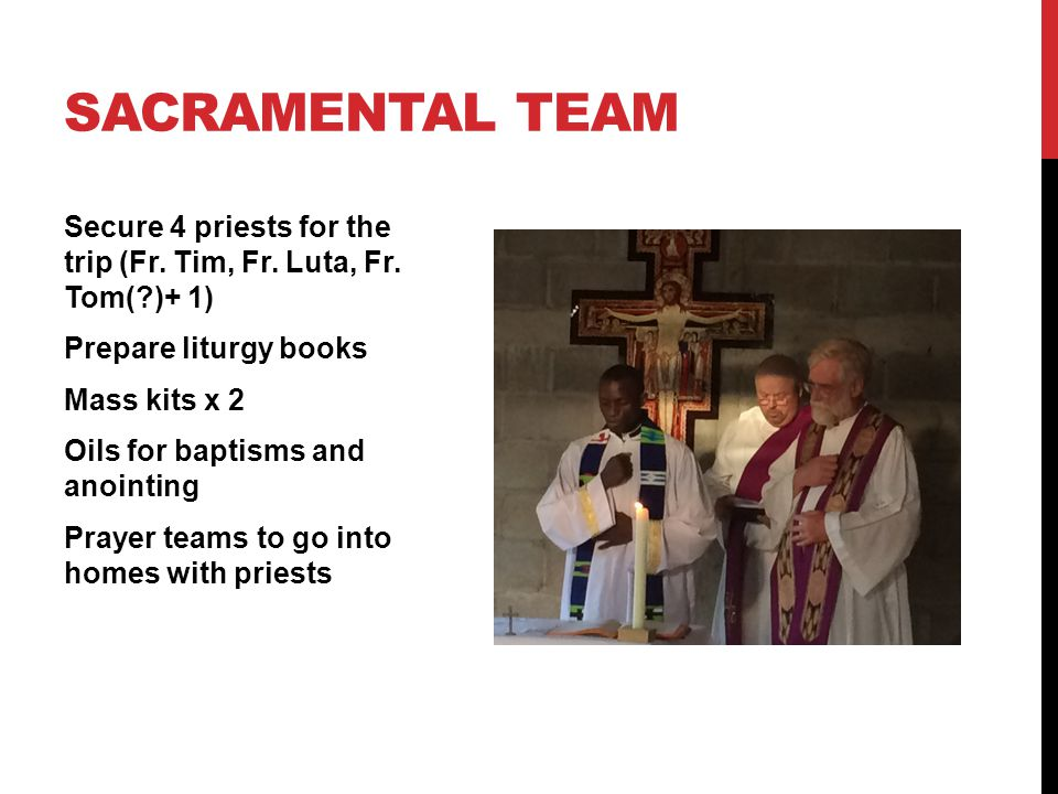SACRAMENTAL TEAM Secure 4 priests for the trip (Fr.