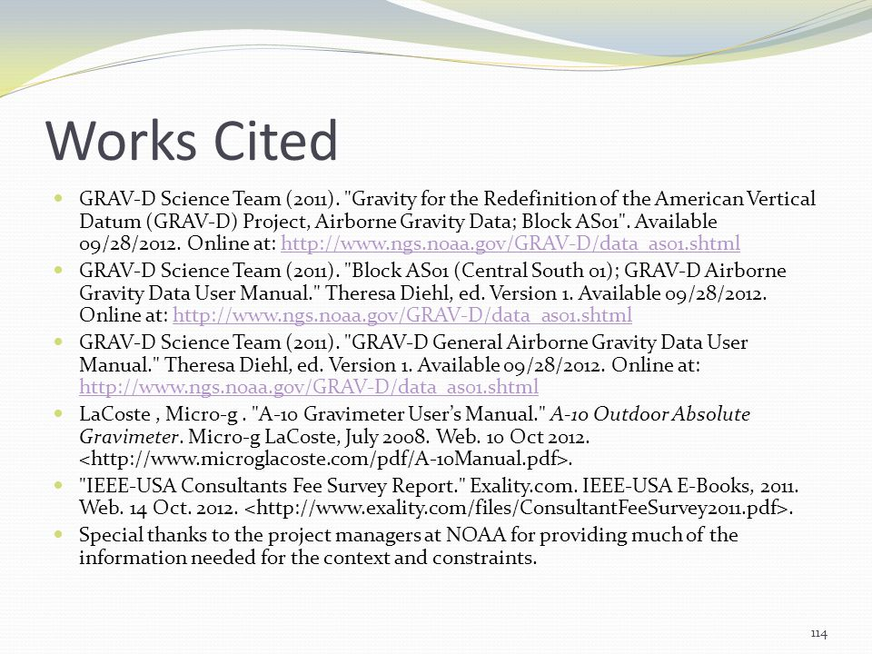 Works Cited GRAV-D Science Team (2011).