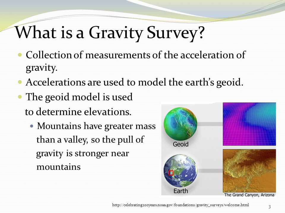 Collection of measurements of the acceleration of gravity. Accelerations are used to model the earths geoid. The geoid model is used to determine elev
