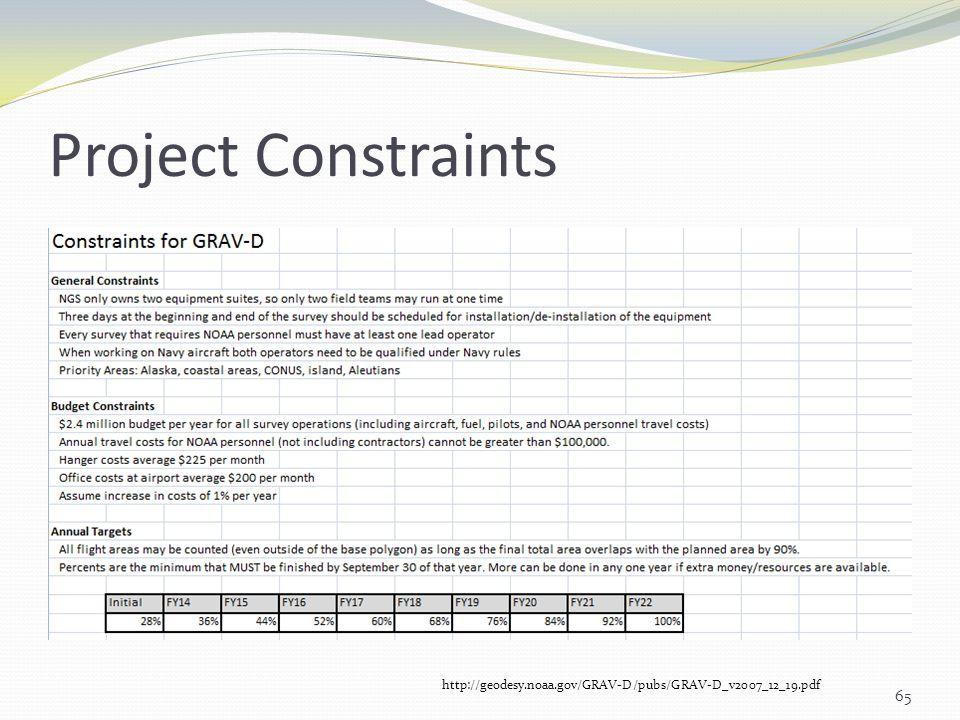 Project Constraints 65 http://geodesy.noaa.gov/GRAV-D/pubs/GRAV-D_v2007_12_19.pdf
