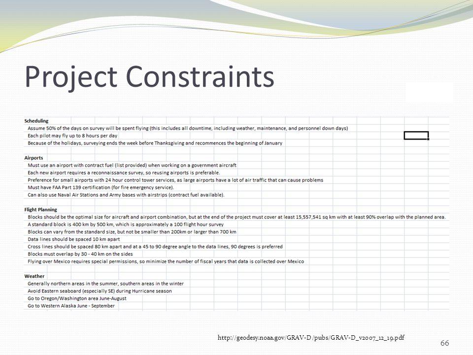 Project Constraints 66 http://geodesy.noaa.gov/GRAV-D/pubs/GRAV-D_v2007_12_19.pdf