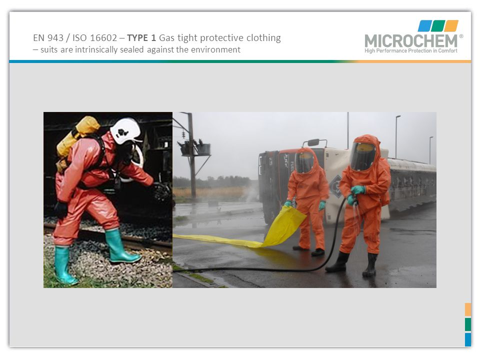 EN 943 / ISO 16602 – TYPE 1 Gas tight protective clothing – suits are intrinsically sealed against the environment