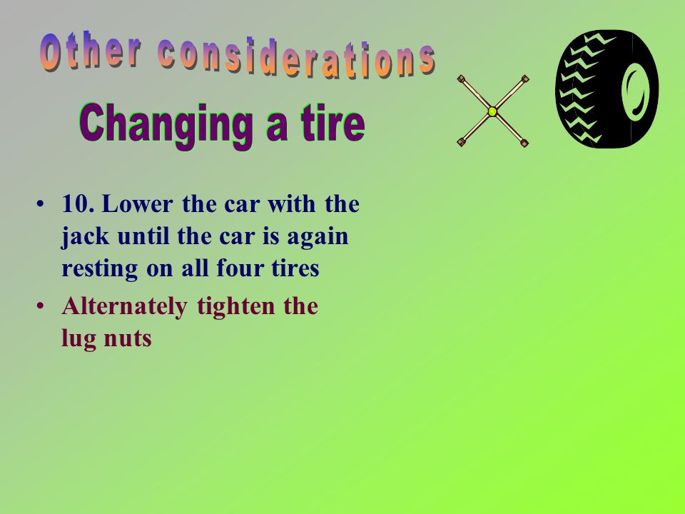 8. Position the spare tire directly in front of the wheel well Lift the spare tire and position it on the threaded bolts Push the tire onto the car un