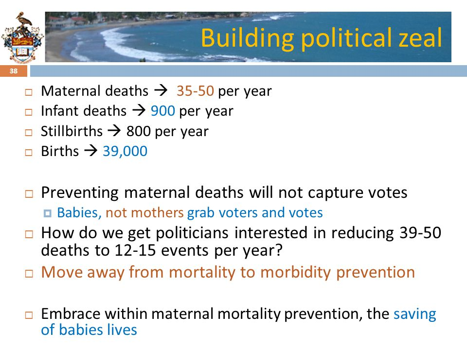 Click to edit Master title styleBuilding political zeal Maternal deaths 35-50 per year Infant deaths 900 per year Stillbirths 800 per year Births 39,000 Preventing maternal deaths will not capture votes Babies, not mothers grab voters and votes How do we get politicians interested in reducing 39-50 deaths to 12-15 events per year.