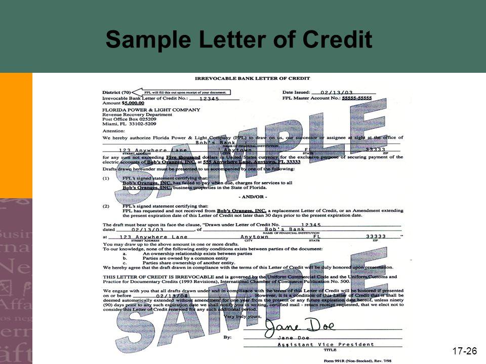 17-26 Sample Letter of Credit