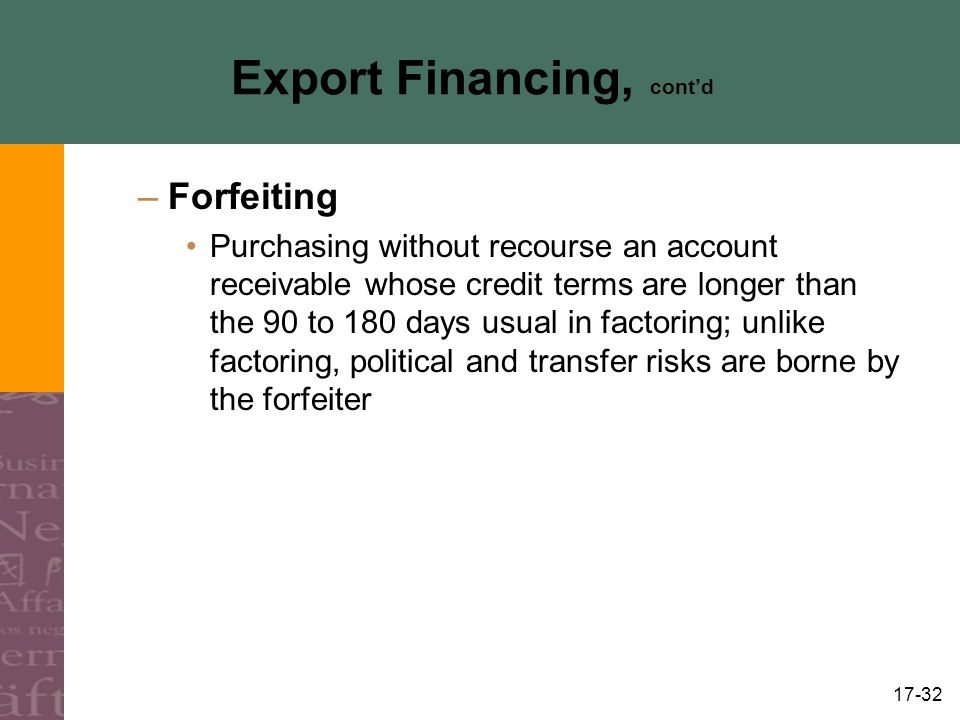 17-32 Export Financing, contd –Forfeiting Purchasing without recourse an account receivable whose credit terms are longer than the 90 to 180 days usua