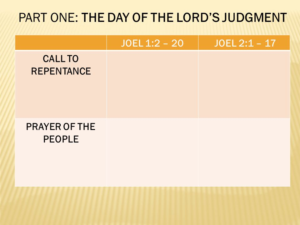 JOEL 1:2 – 20 JOEL 2:1 – 17 CALL TO REPENTANCE PRAYER OF THE PEOPLE PART ONE: THE DAY OF THE LORDS JUDGMENT
