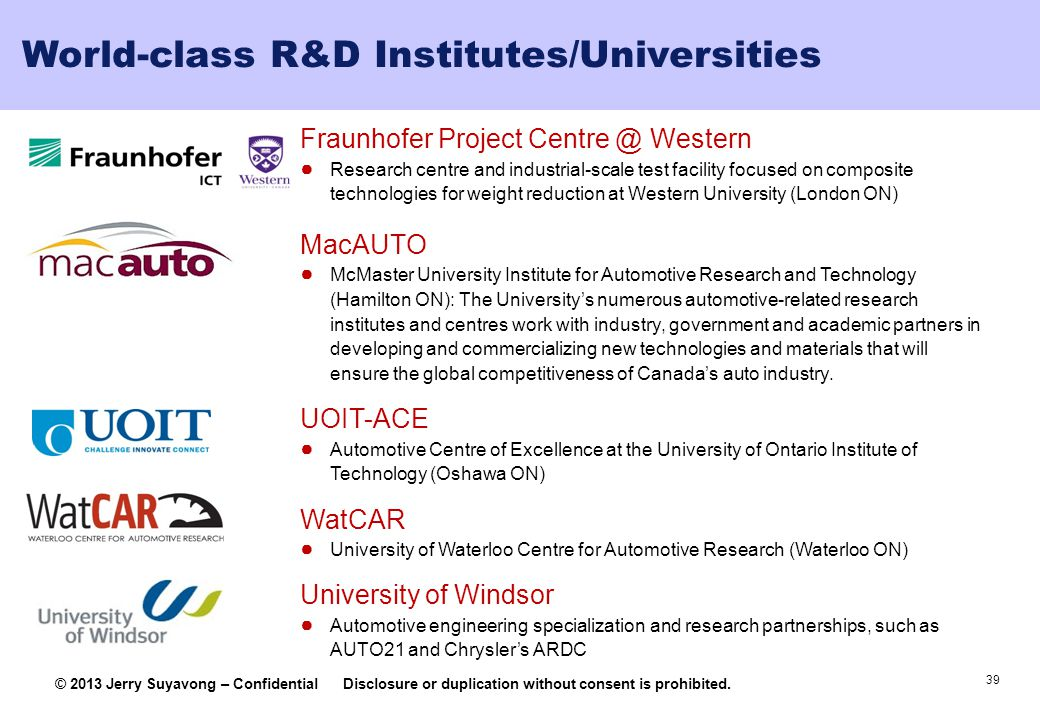 39 © 2013 Jerry Suyavong – ConfidentialDisclosure or duplication without consent is prohibited. World-class R&D Institutes/Universities Fraunhofer Pro