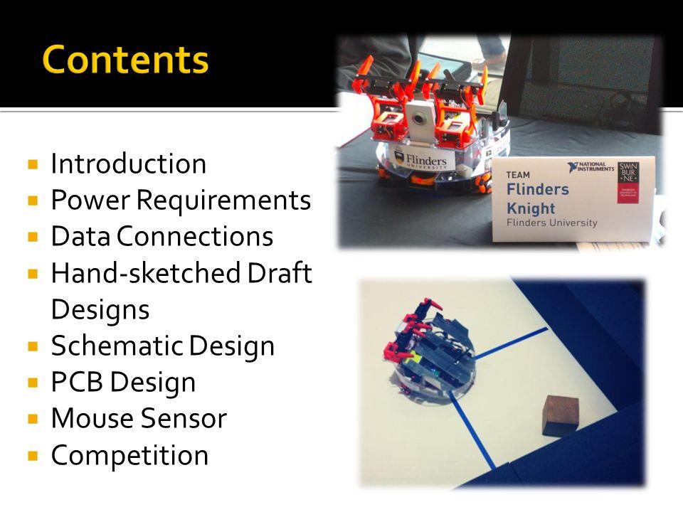 NIARC: National Instruments Autonomous Robotics Competition April – September 2013 Scope: set by rules Team competition Joel Cottrell: Electronics Rowan Pivetta: Mechanical Joshua Renfrey: Software