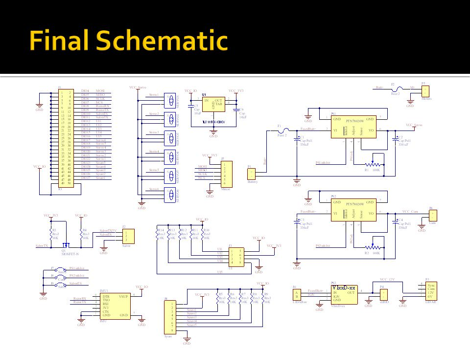 Specify physical shape of board Place plated holes for mounting Component footprints and nets specified from schematic within same project Arrange parts across top and bottom layers Wiring and access requirements of robot Complexity of routing tracks between components General aesthetics and tidiness Remap pins, route tracks, draw silkscreen Submit for PCB manufacture by Entech