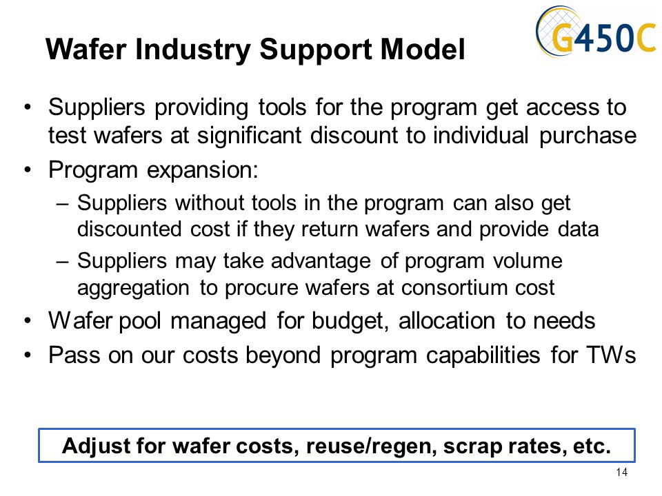Wafer Industry Support Model Suppliers providing tools for the program get access to test wafers at significant discount to individual purchase Progra