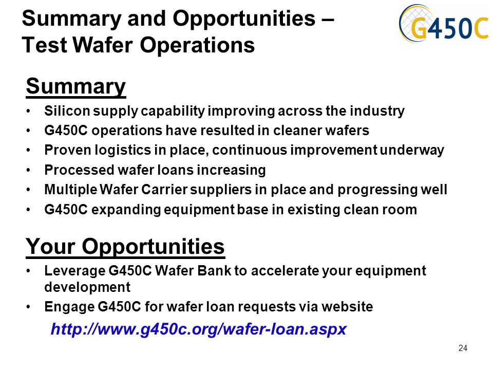 Summary and Opportunities – Test Wafer Operations Summary Silicon supply capability improving across the industry G450C operations have resulted in cl