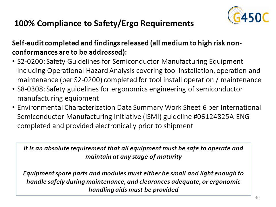 Self-audit completed and findings released (all medium to high risk non- conformances are to be addressed): S2-0200: Safety Guidelines for Semiconduct
