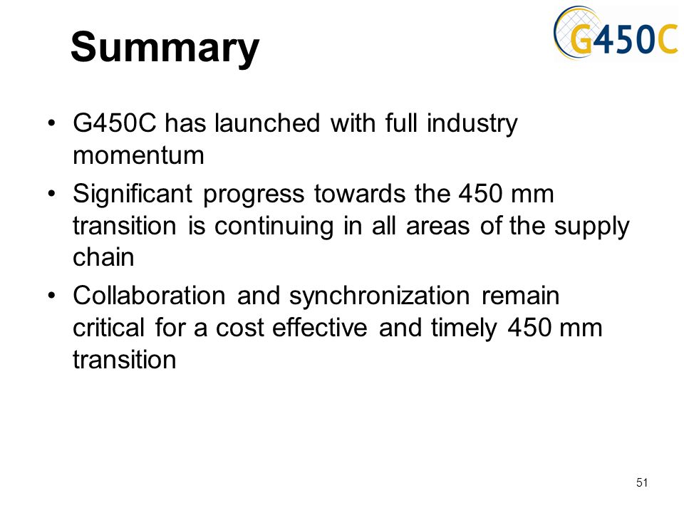 Summary G450C has launched with full industry momentum Significant progress towards the 450 mm transition is continuing in all areas of the supply cha