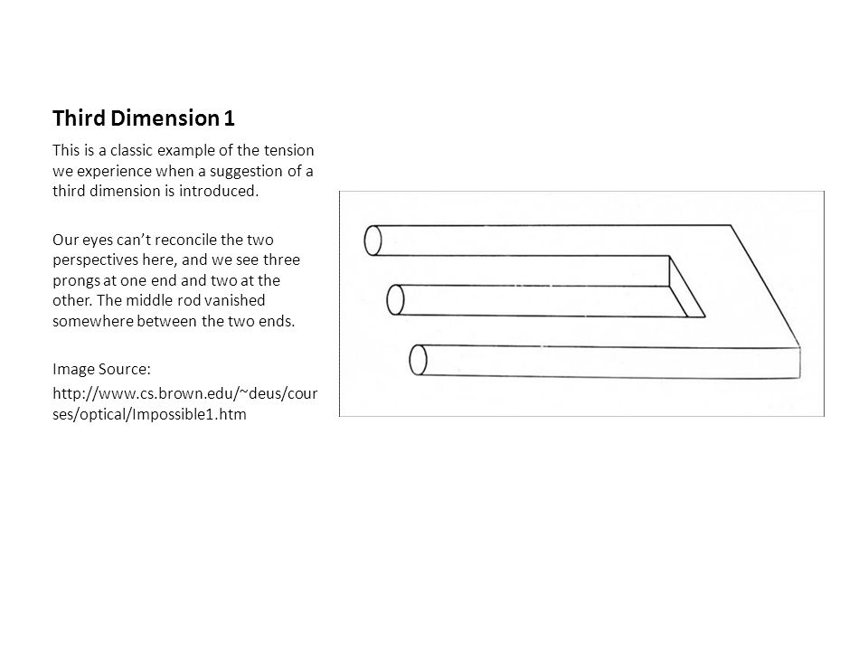 Third Dimension 1 This is a classic example of the tension we experience when a suggestion of a third dimension is introduced.