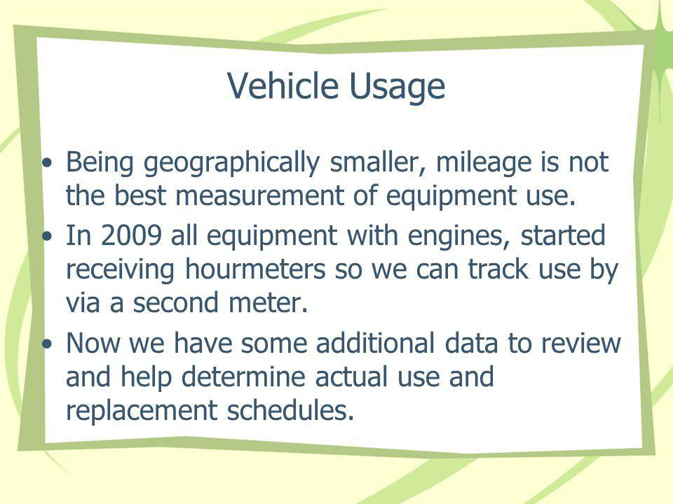 Vehicle Usage Being geographically smaller, mileage is not the best measurement of equipment use.