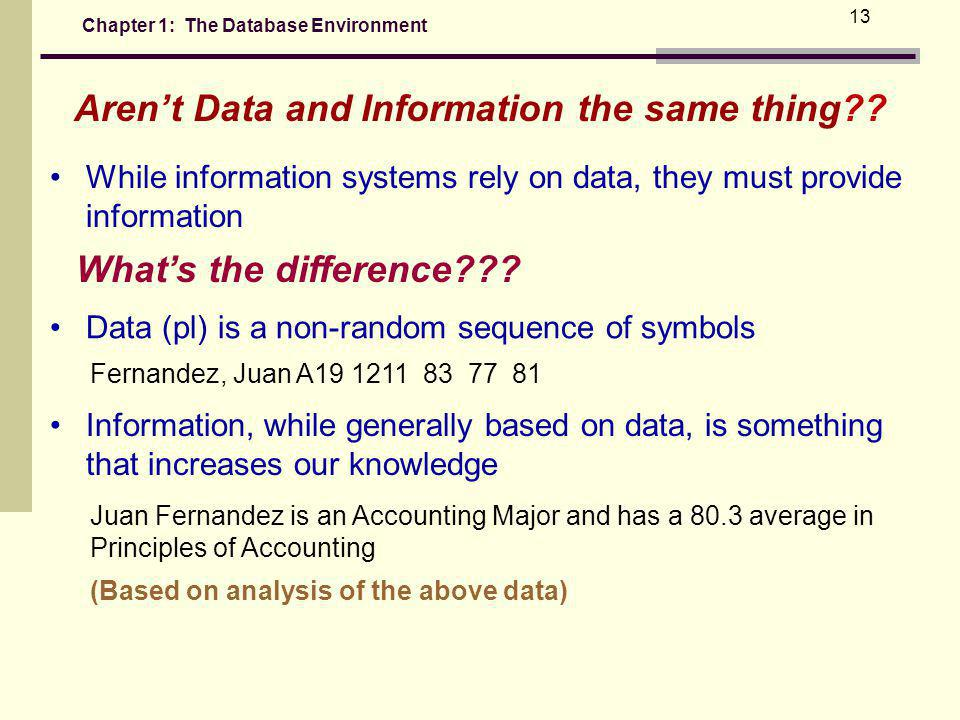 Chapter 1: The Database Environment 13 While information systems rely on data, they must provide information Whats the difference??.