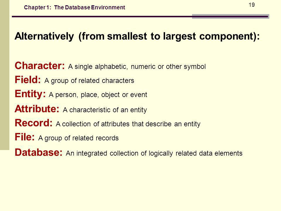 Chapter 1: The Database Environment 19 Alternatively (from smallest to largest component): Character: A single alphabetic, numeric or other symbol Field: A group of related characters Entity: A person, place, object or event Attribute: A characteristic of an entity Record: A collection of attributes that describe an entity File: A group of related records Database: An integrated collection of logically related data elements
