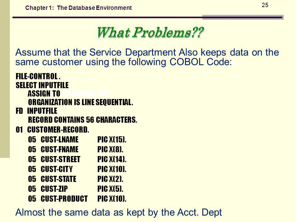 Chapter 1: The Database Environment 25 Assume that the Service Department Also keeps data on the same customer using the following COBOL Code: SELECT INPUTFILE ASSIGN TO C:\INDATA2.DAT ORGANIZATION IS LINE SEQUENTIAL.