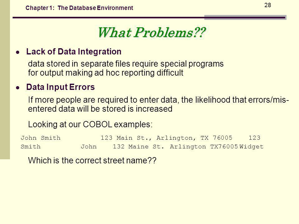 Chapter 1: The Database Environment 28 Lack of Data Integration data stored in separate files require special programs for output making ad hoc reporting difficult Data Input Errors If more people are required to enter data, the likelihood that errors/mis- entered data will be stored is increased What Problems?.