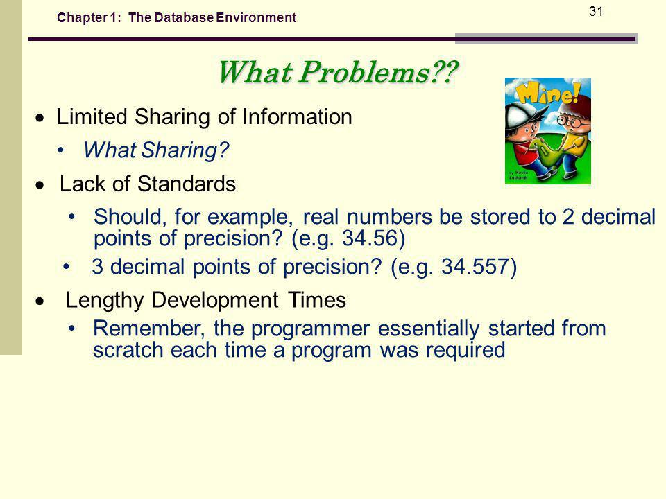 Chapter 1: The Database Environment 31 What Sharing.