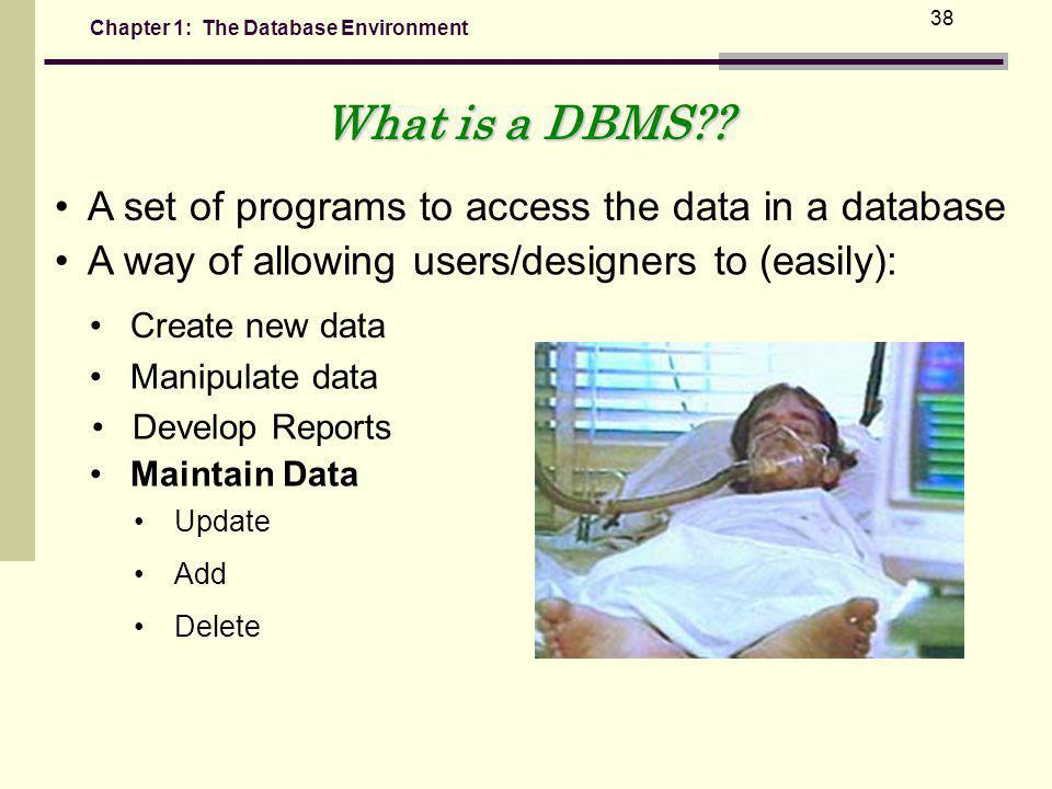Chapter 1: The Database Environment 38 What is a DBMS?.