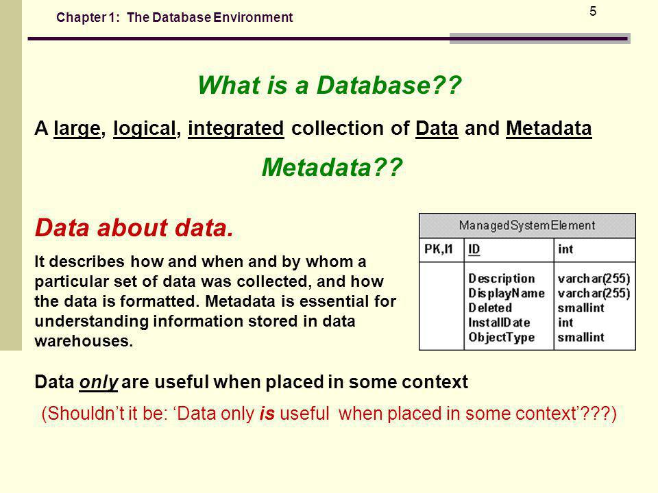 Chapter 1: The Database Environment 5 What is a Database?.